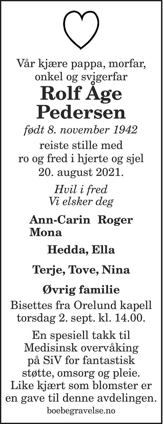 Rolf Åge Pedersen Dødsannonse