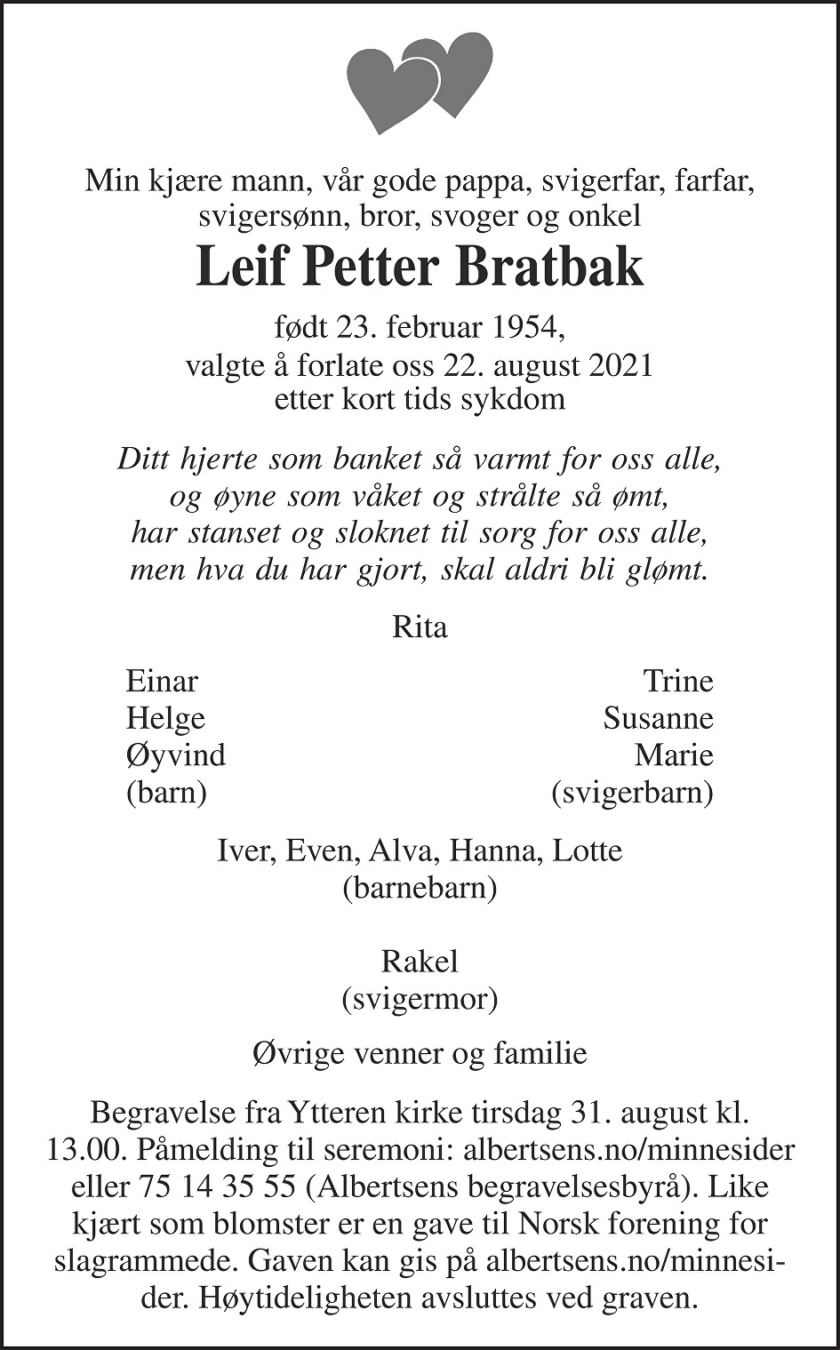 Leif Petter Bratbak Dødsannonse