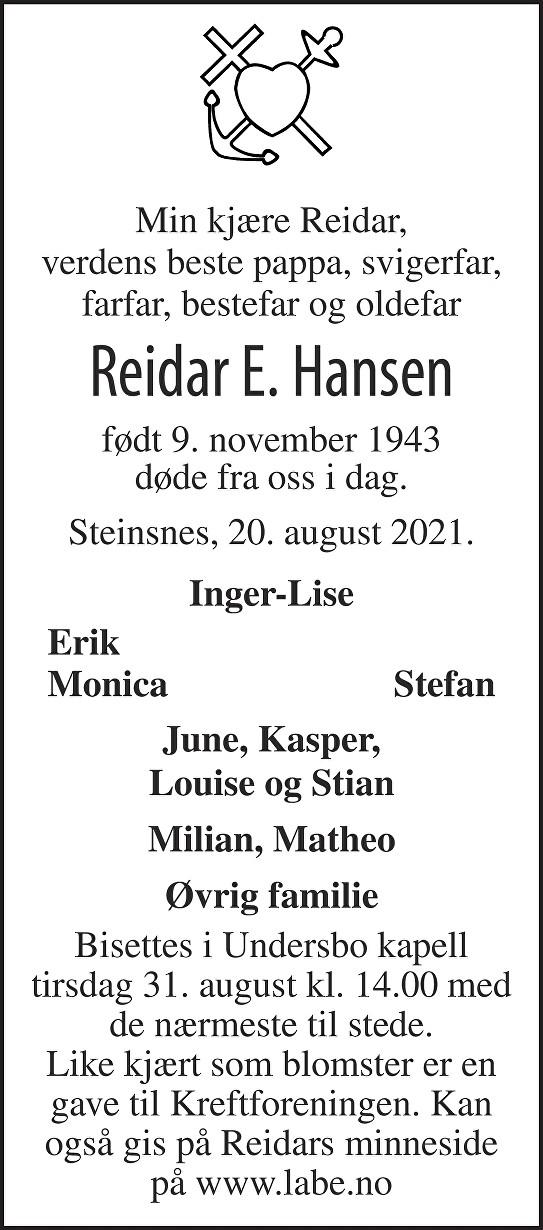 Reidar Erwin Hansen Dødsannonse