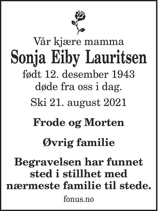 Sonja Lauritsen Dødsannonse