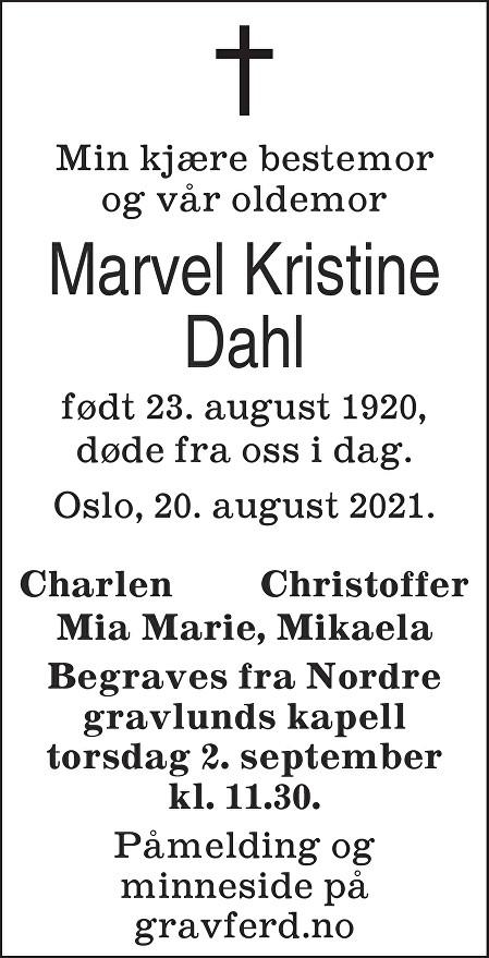 Marvel Kristine Dahl Dødsannonse