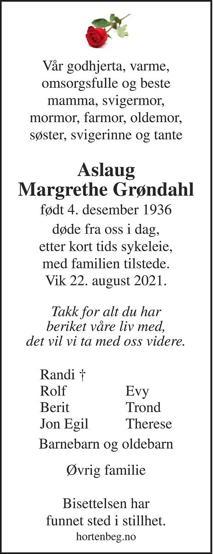 Aslaug Margrethe Grøndahl Dødsannonse