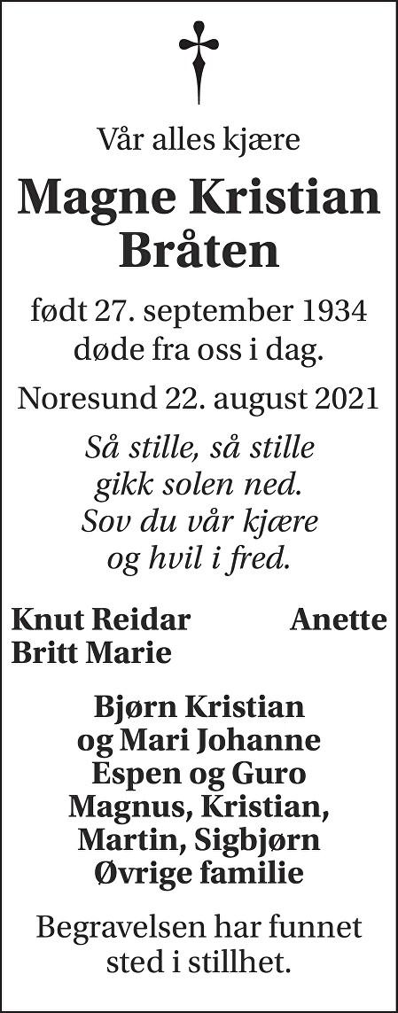 Magne Kristian Bråten Dødsannonse
