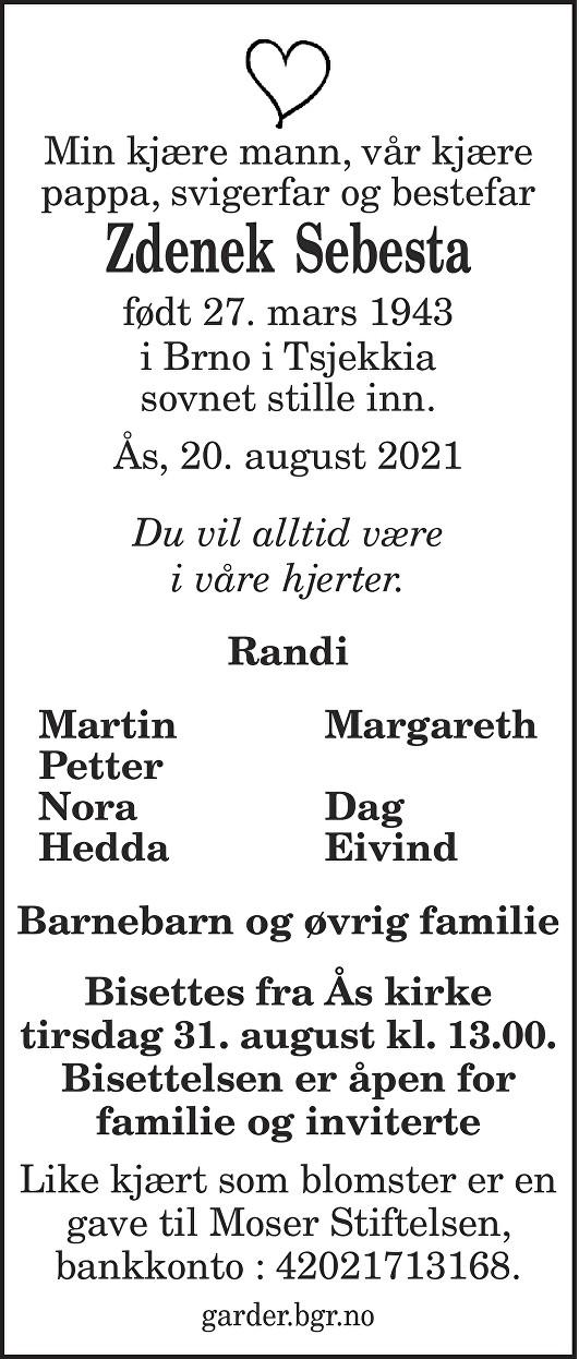 Zdenek Sebesta Dødsannonse
