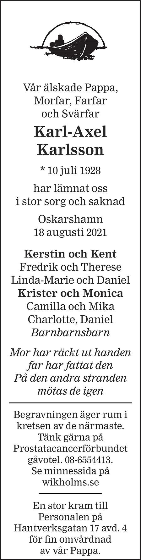 Karl-Axel Karlsson Death notice