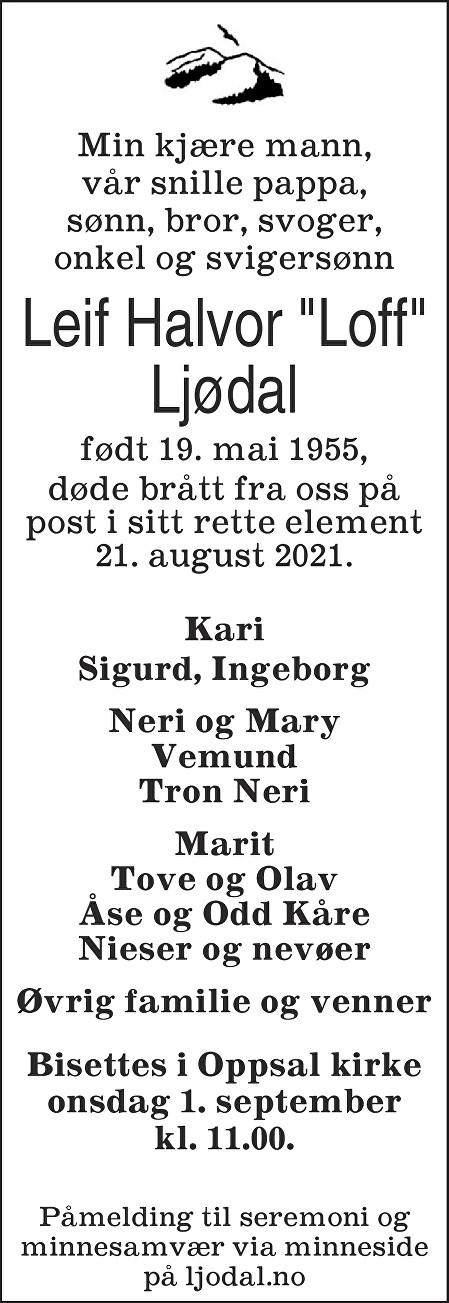 Leif Halvor Ljødal Dødsannonse