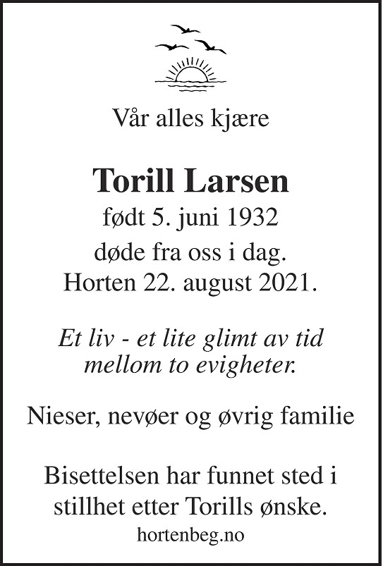 Torill Larsen Dødsannonse