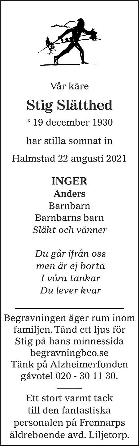 Stig  Slätthed Death notice