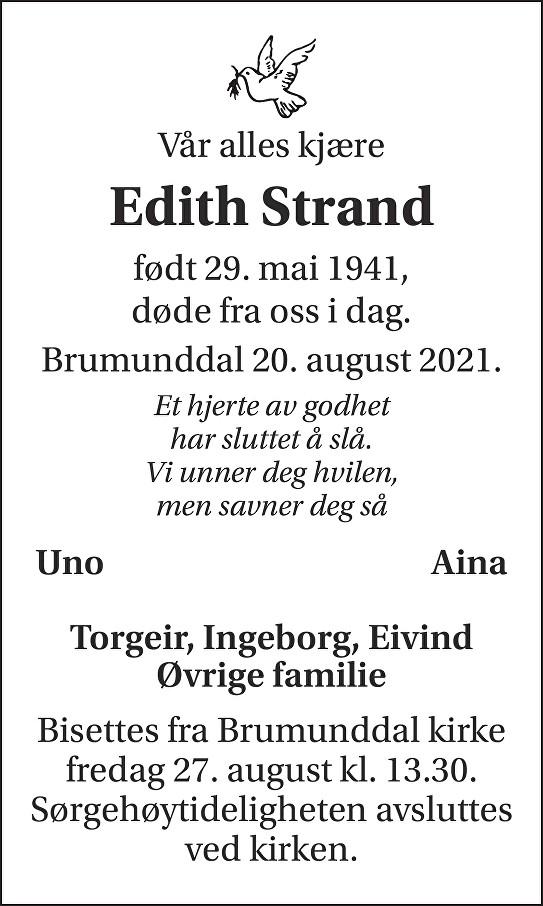 Edith Strand Dødsannonse