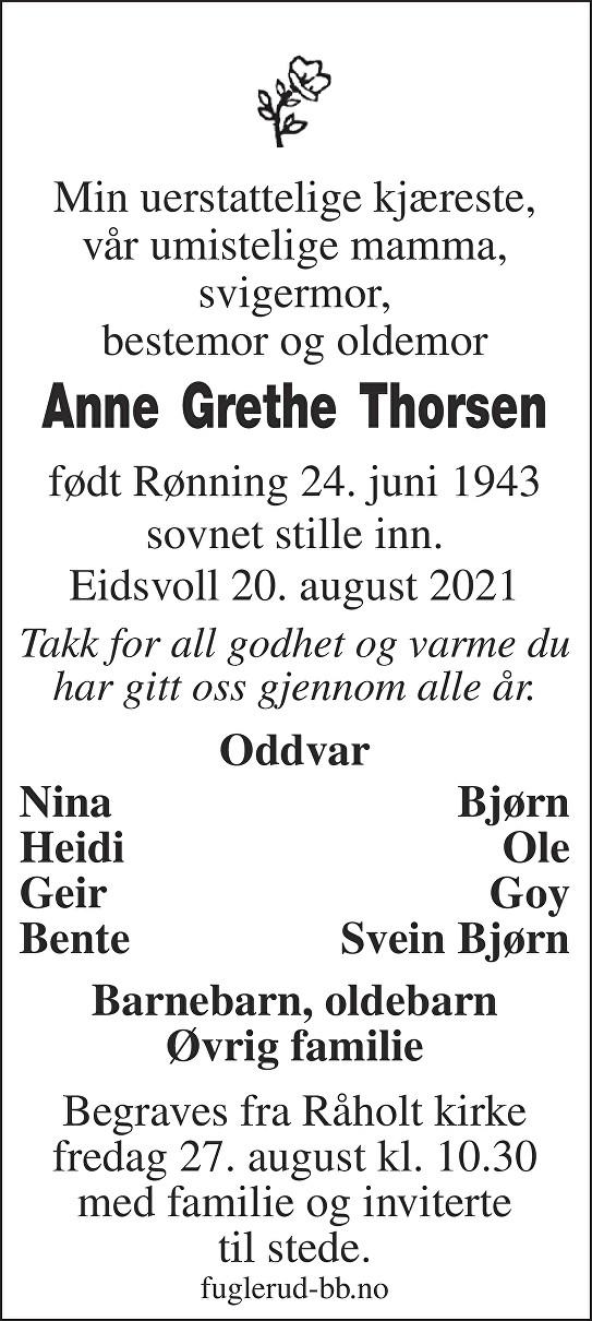 Anne Grethe Thorsen Dødsannonse