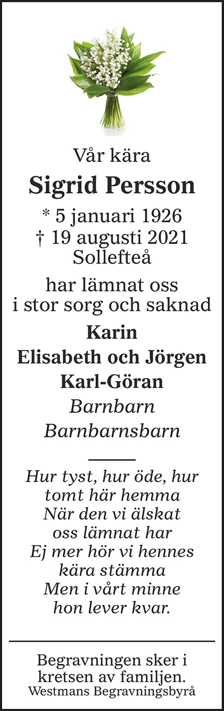 Sigrid Persson Death notice
