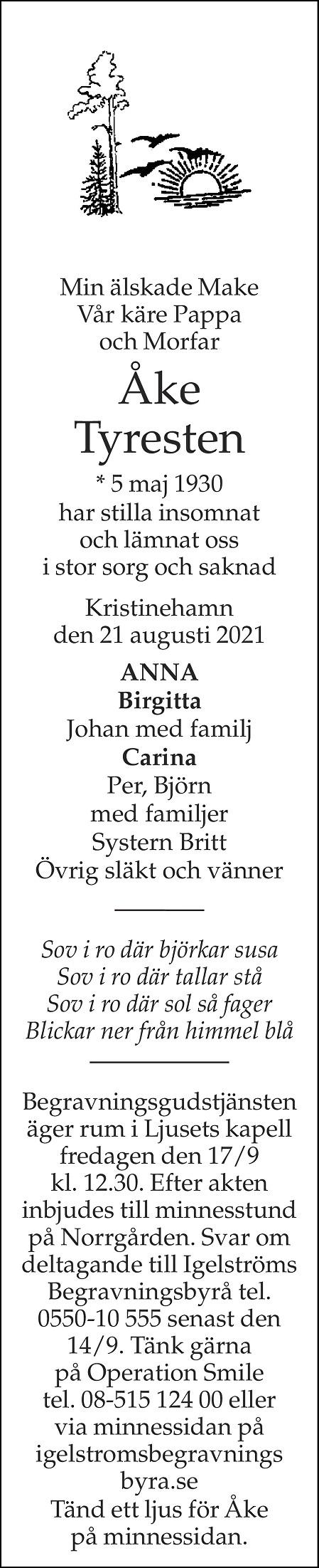 Åke Tyresten Death notice