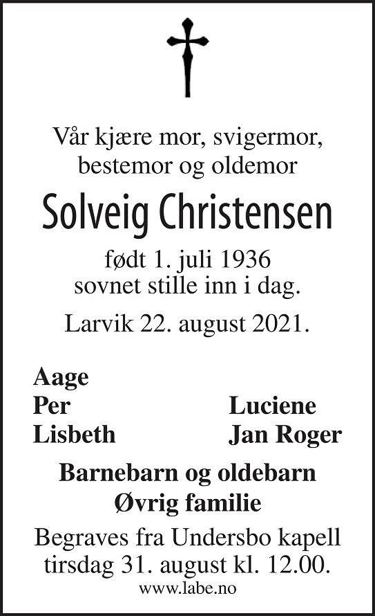 Solveig Christensen Dødsannonse