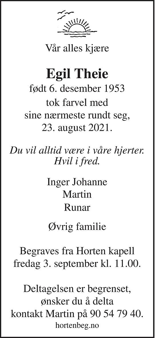 Egil Theie Dødsannonse