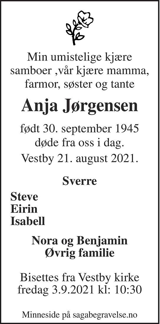 Anja  Jørgensen Dødsannonse
