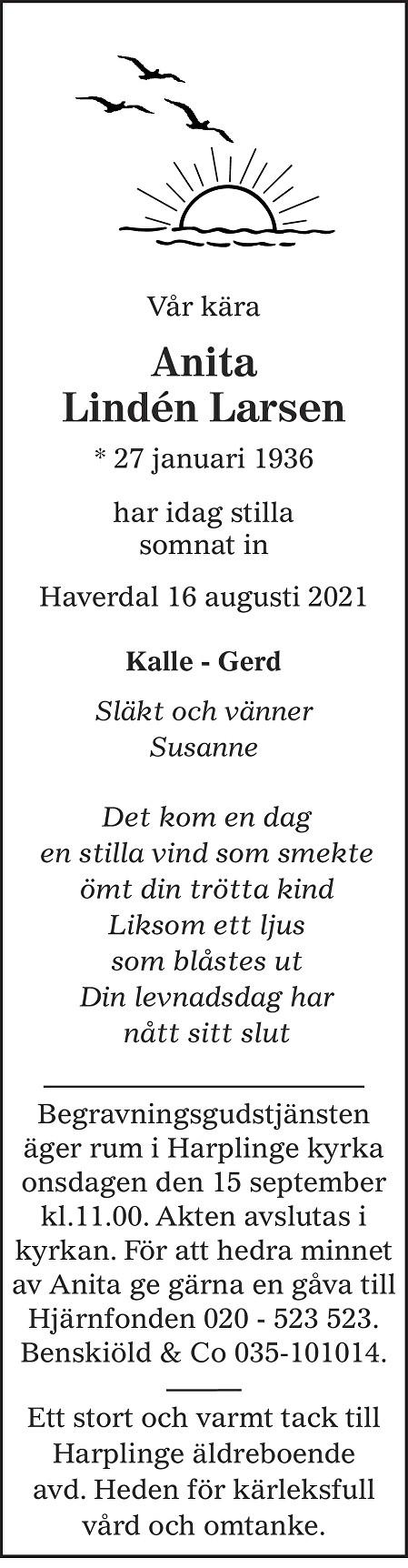 Anita Lindén Larsen Death notice
