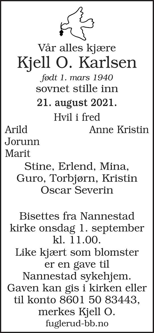 Kjell Oddvar Karlsen Dødsannonse