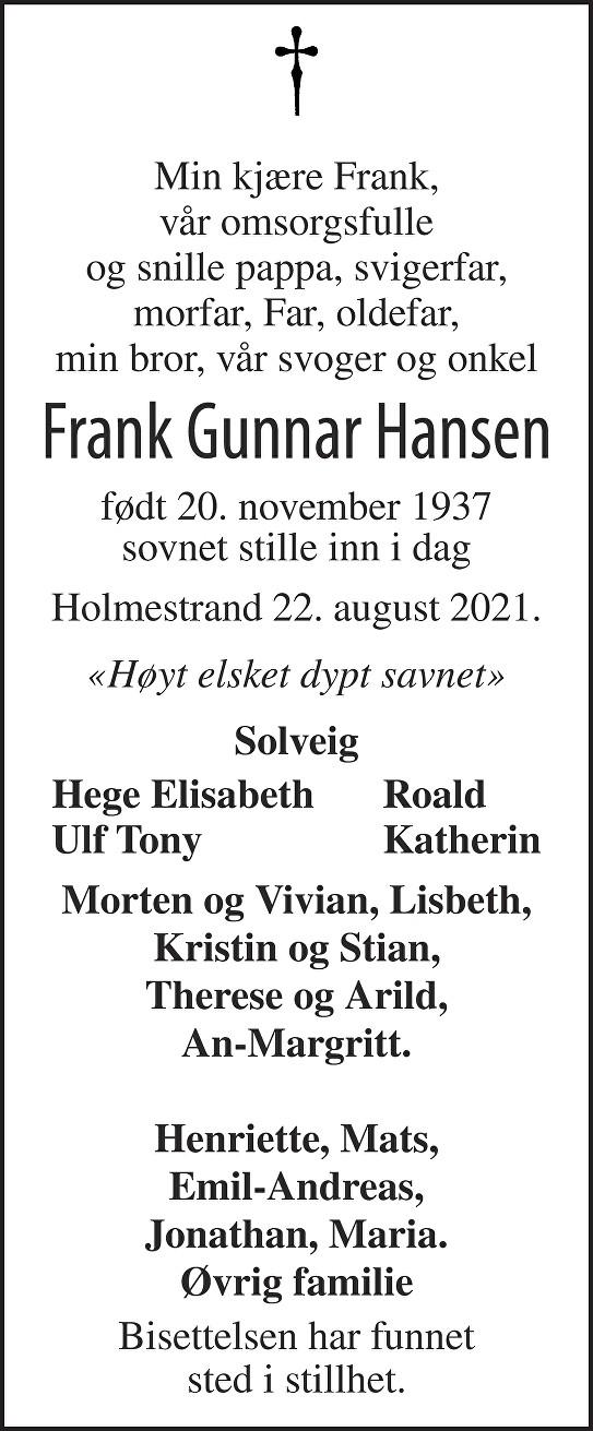 Frank Gunnar Hansen Dødsannonse