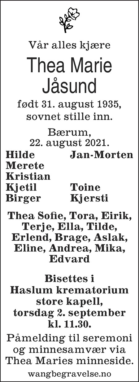 Thea Marie Jåsund Dødsannonse