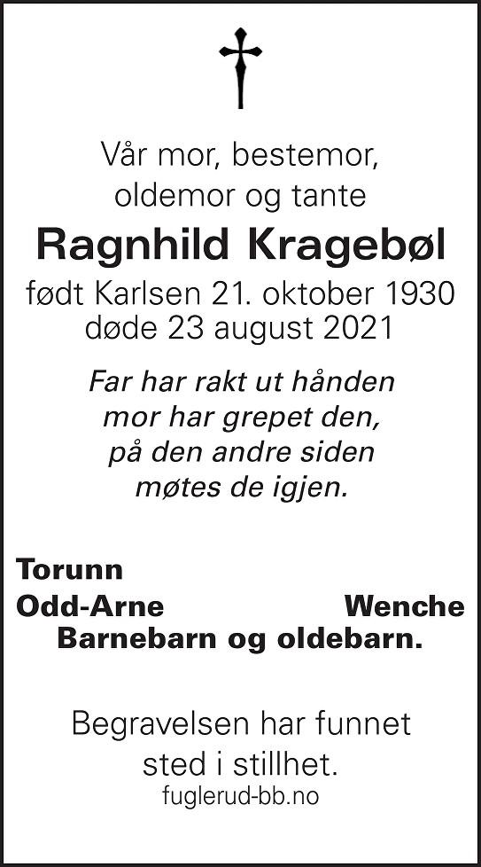 Ragnhild Kragebøl Dødsannonse