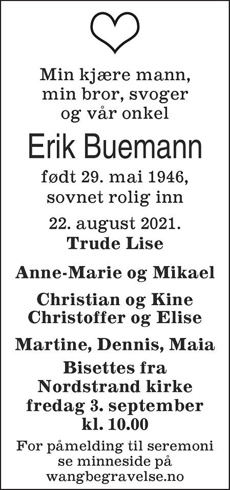 Erik Buemann Dødsannonse