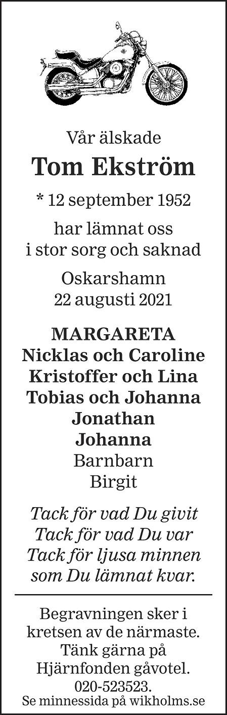 Tom Ekström Death notice