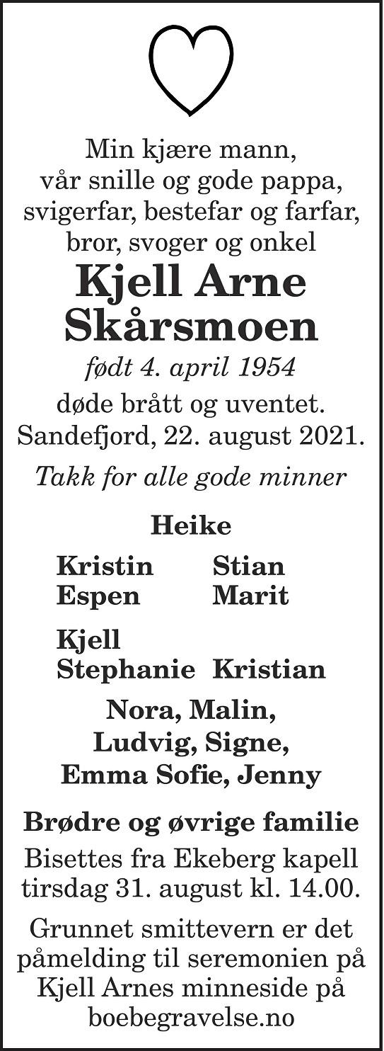 Kjell Arne Skårsmoen Dødsannonse