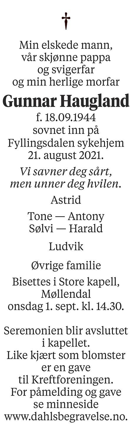 Gunnar Haugland Dødsannonse