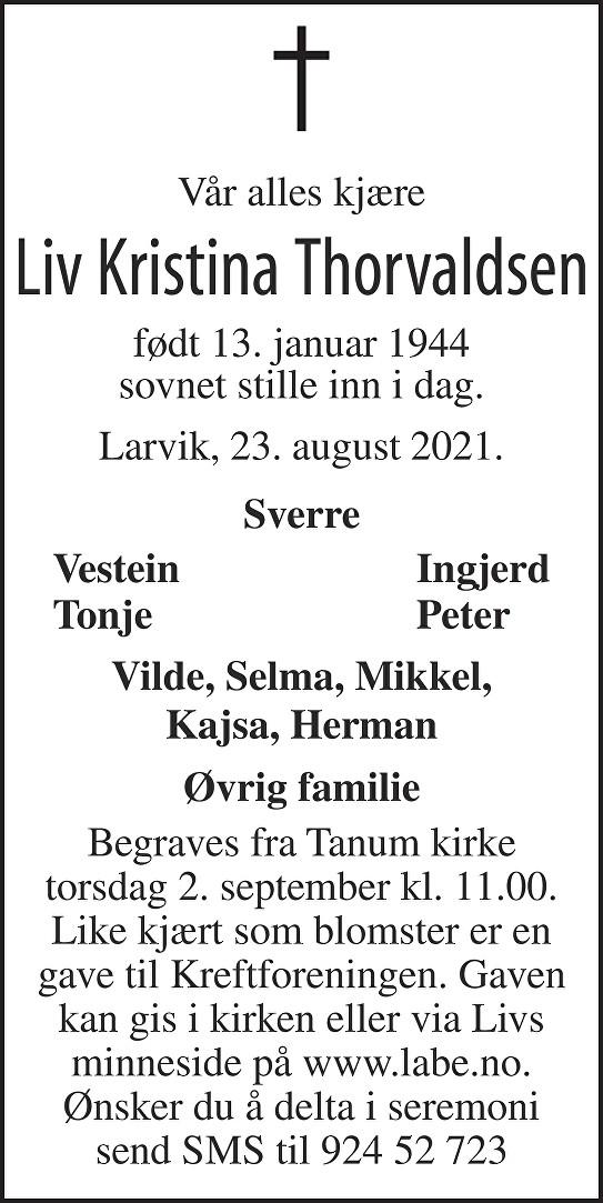 Liv Kristina Thorvaldsen Dødsannonse