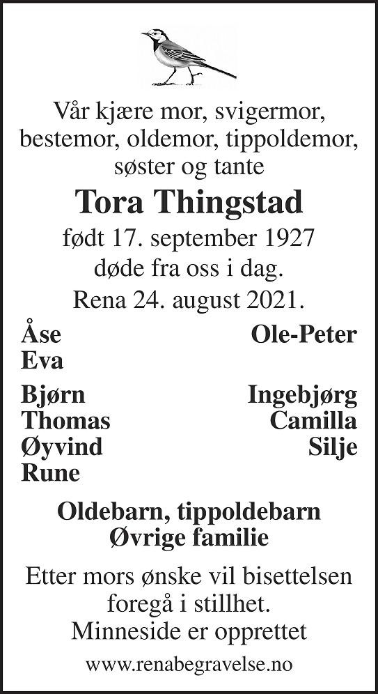 Tora Thingstad Dødsannonse