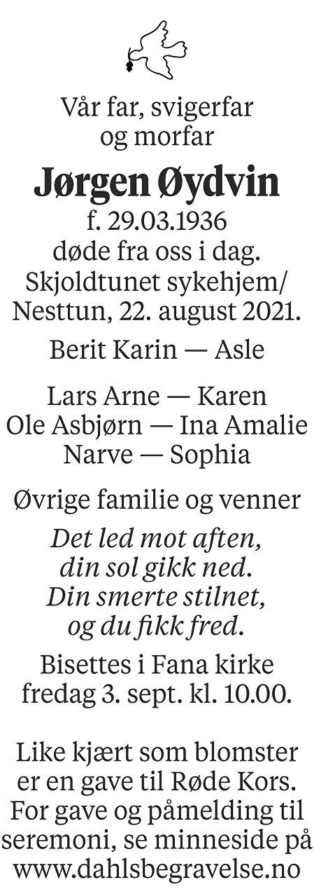 Jørgen Øydvin Dødsannonse
