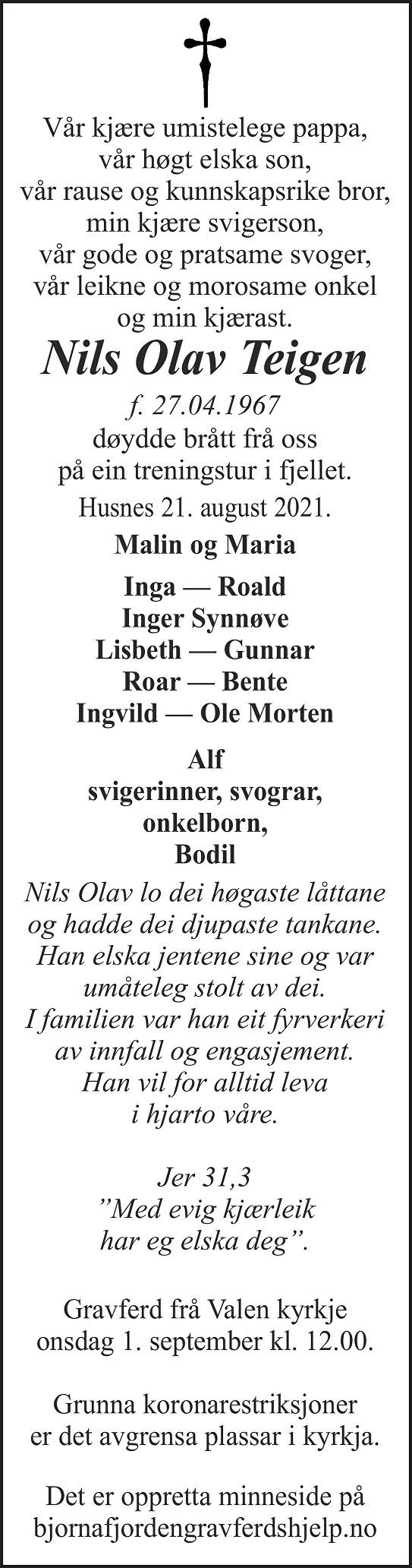 Nils Olav Teigen Dødsannonse