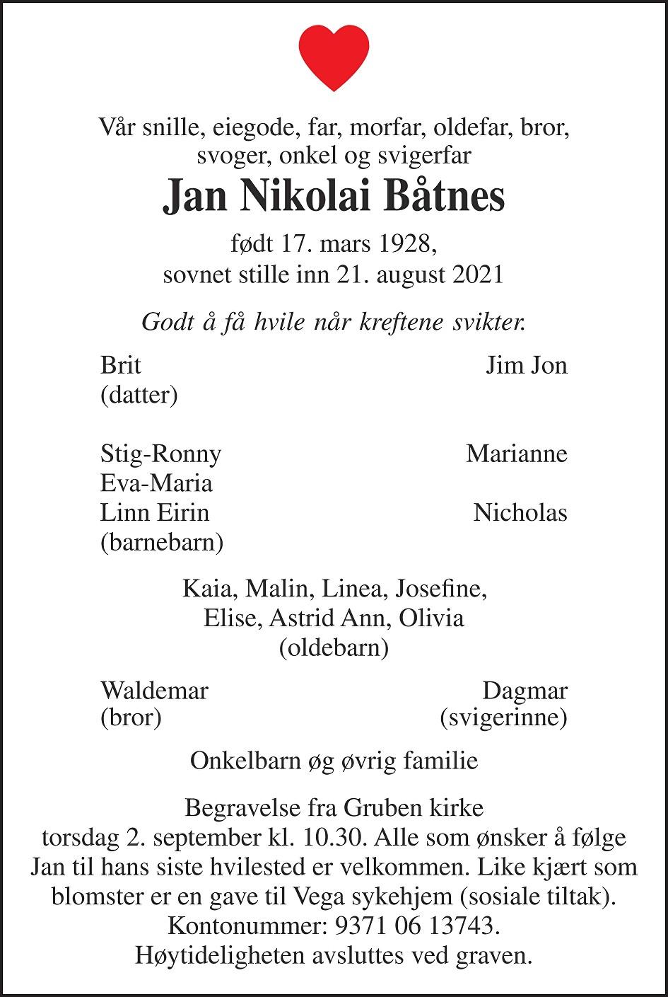 Jan Nikolai Båtnes Dødsannonse