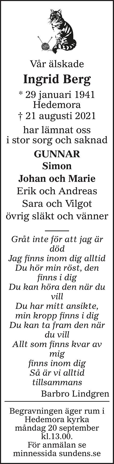 Ingrid Berg Death notice