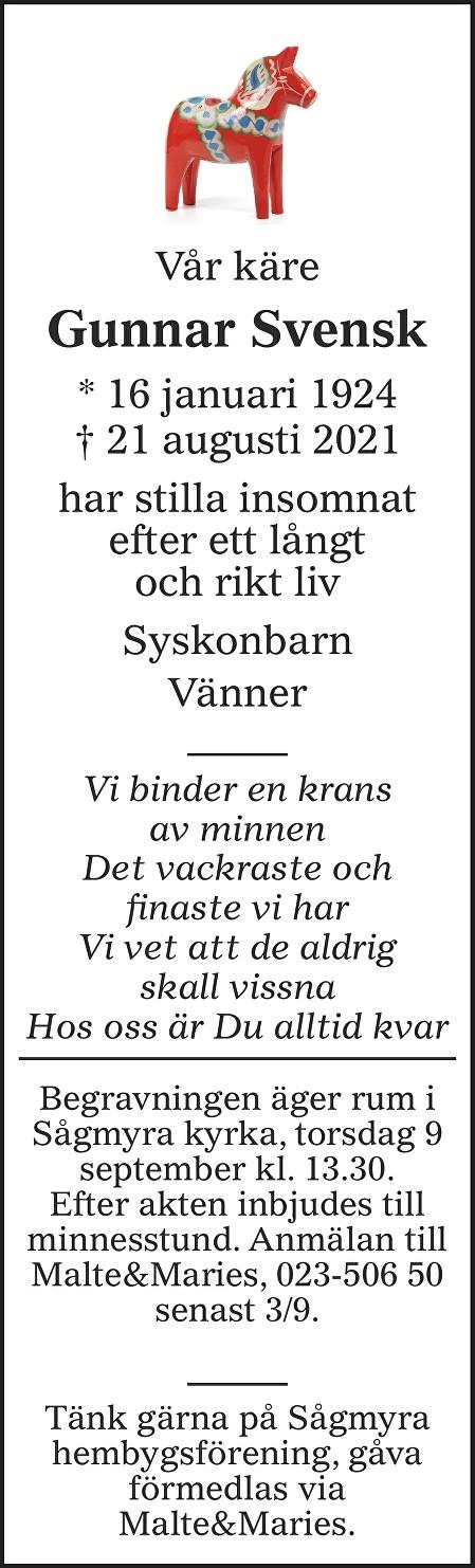 Gunnar Svensk Death notice