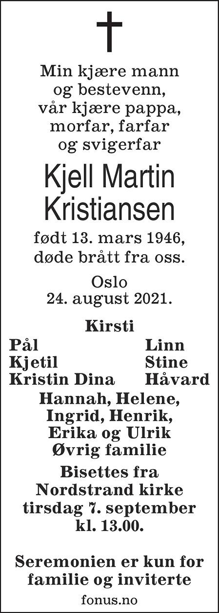 Kjell Martin Kristiansen Dødsannonse