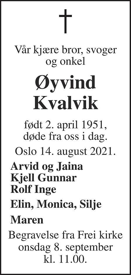 Øyvind Kvalvik Dødsannonse