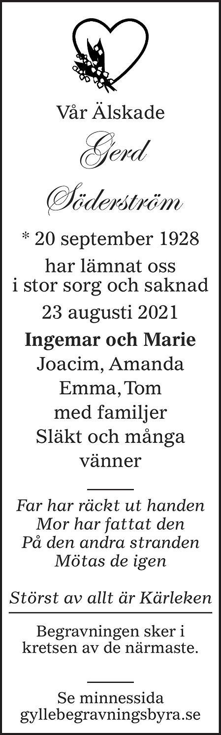 Gerd Söderström Death notice