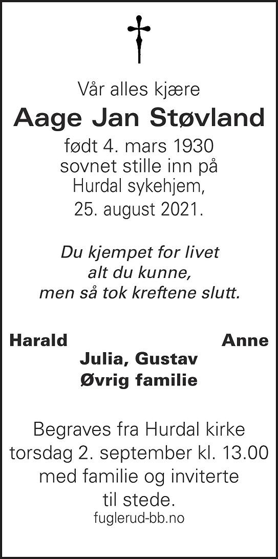Aage Jan Støvland Dødsannonse