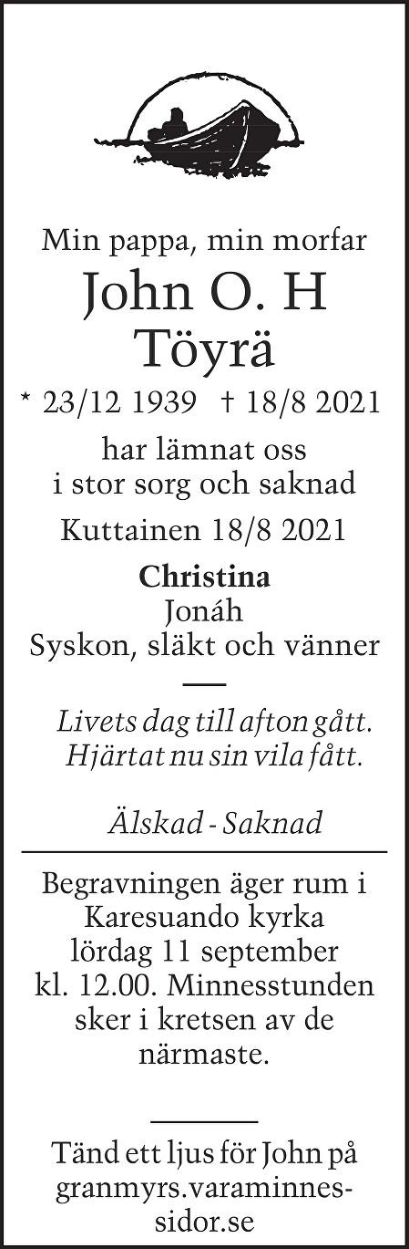 John Töyrä Death notice