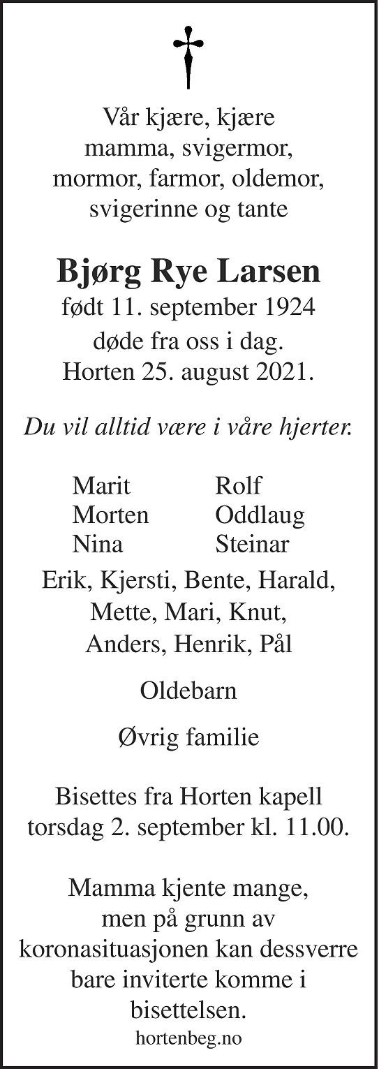 Bjørg Rye Larsen Dødsannonse