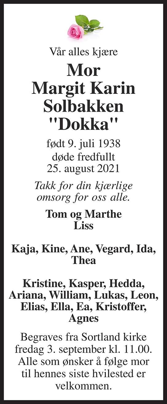 Margit Karin Solbakken Dødsannonse