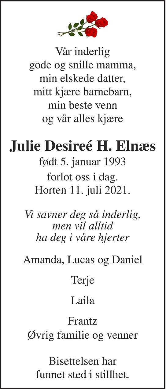 Julie Desireé Hagen Elnæs Dødsannonse