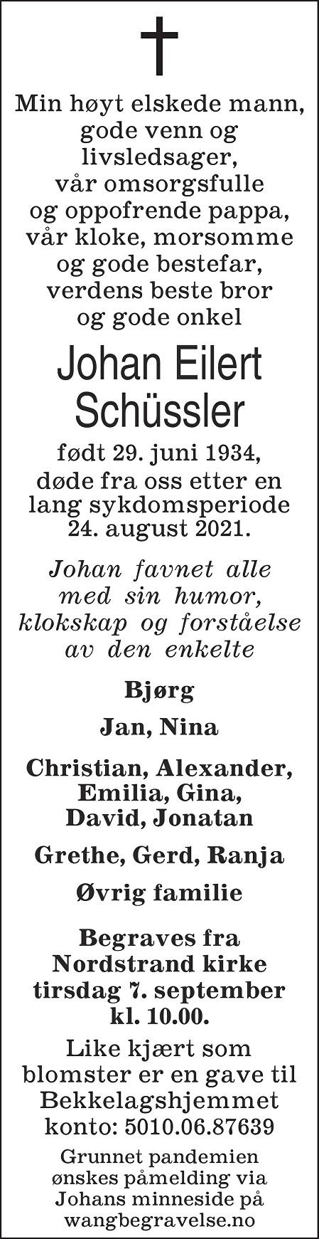 Johan Eilert Schüssler Dødsannonse
