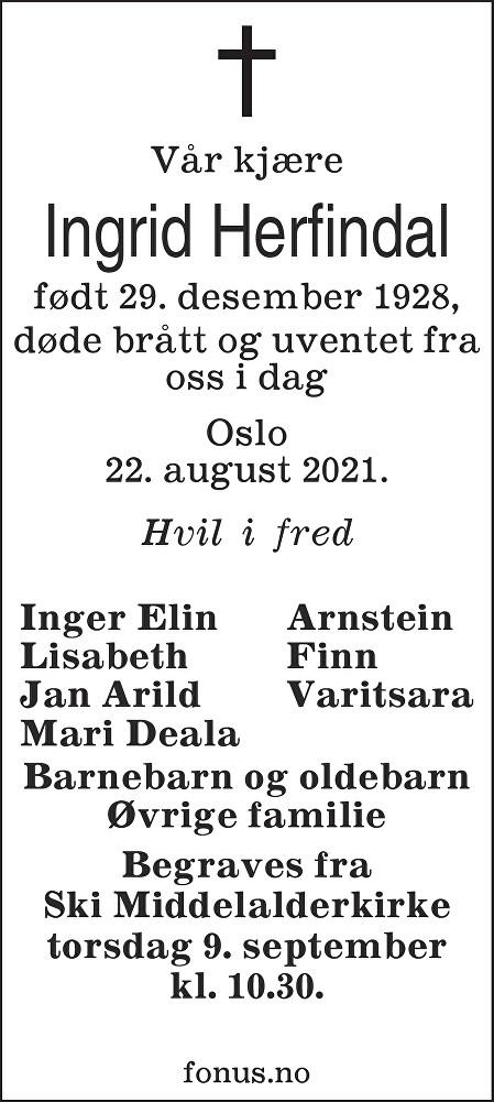 Ingrid Herfindal Dødsannonse
