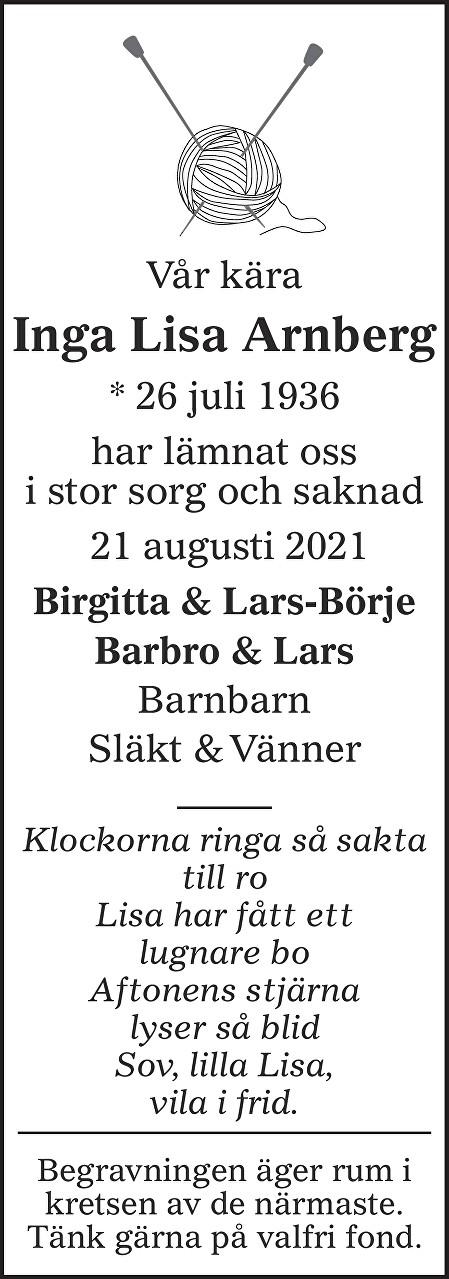 Inga Lisa Arnberg Death notice
