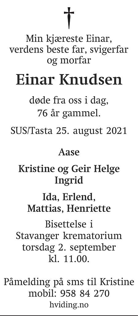 Einar Knudsen Dødsannonse