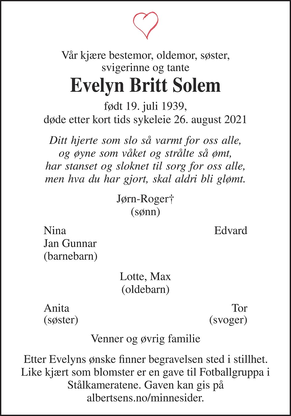 Evelyn Britt Solem Dødsannonse
