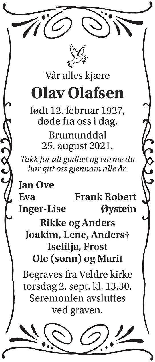 Olav Olafsen Dødsannonse