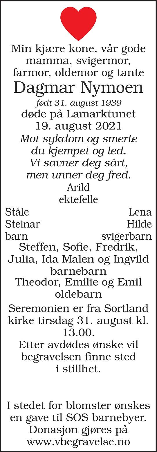 Dagmar Oliva Nymoen Dødsannonse